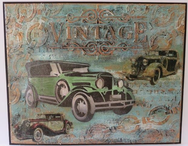 Canvas by Martina Tidball for Hochanda ODS June 2017. Imagination Crafts' Art stencils, Alchemy Waxes, Starlights Wax.