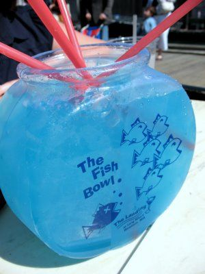 Fishbowls -- 6 oz vodka / 3 oz coconut rum / 3 oz blue curacao / 3 oz sour mix / 6 oz pineapple juice / 9 oz sprite / crushed ice....serves 4 or one really, really brave party goer ;)