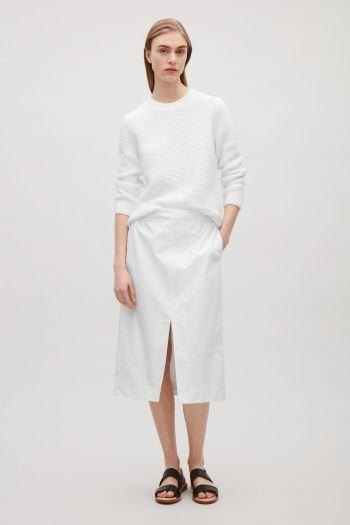 COS image 1 of Textured knit jumper in White