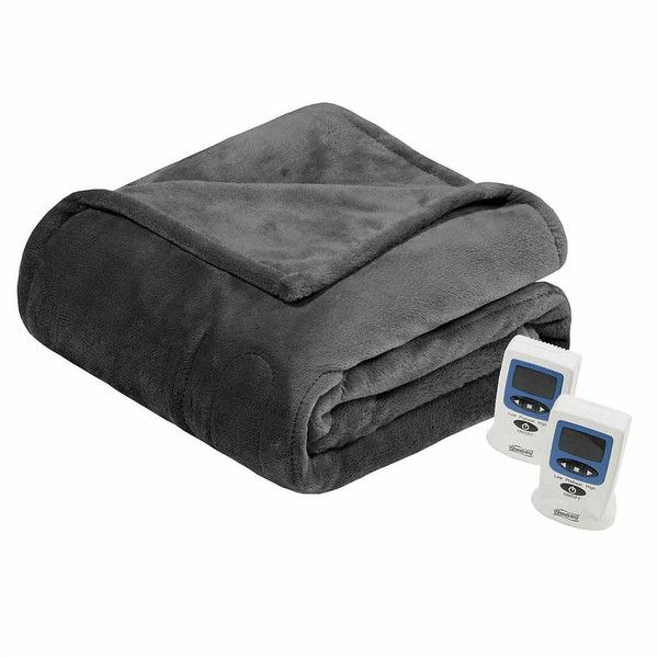 Beautyrest Plush Heated Electric Blanket ($156) ❤ liked on Polyvore featuring home, bed & bath, bedding, blankets, electric heat blanket, plush blankets, plush bedding, beautyrest electric blanket and plush heated blanket