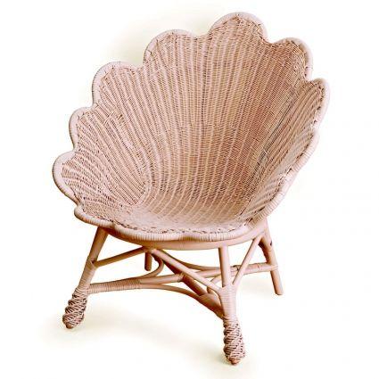 seashell inspired wicker chair.
