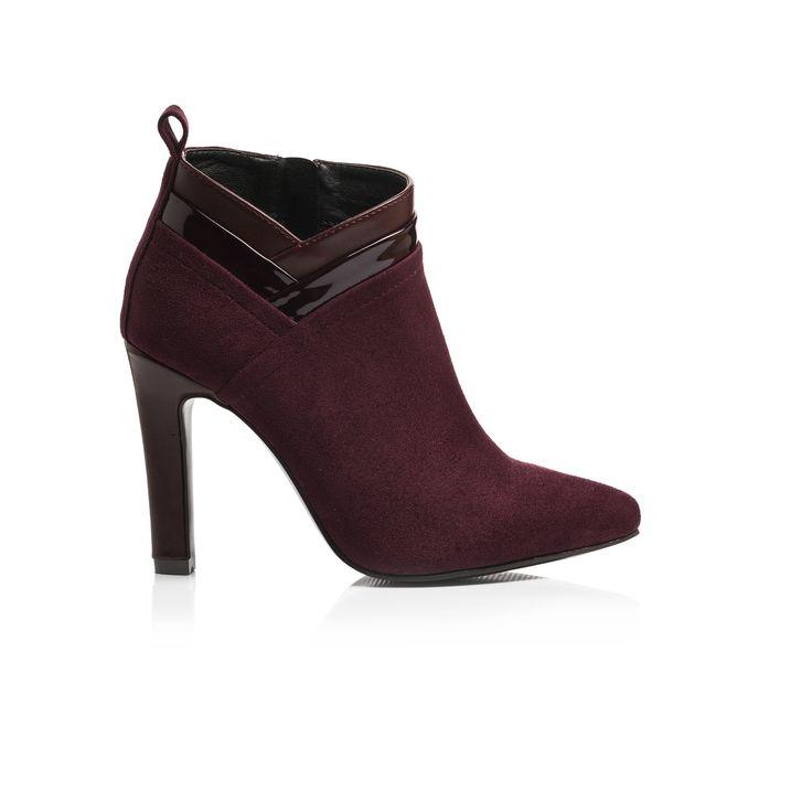 Low boots en suède bordeaux