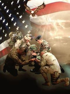 Image result for show me a picture of modern american soldiers praying