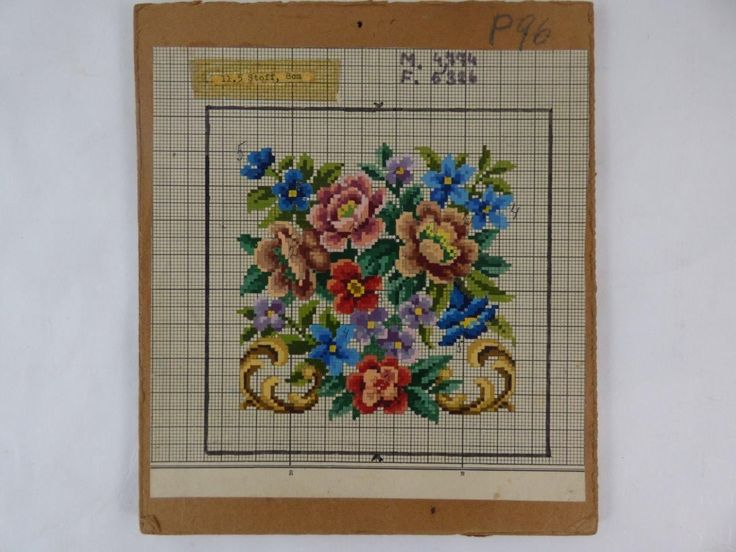 Antique Vintage Berlin Woolwork Chart Hand Painted Tapestry Embroidery Wool K | eBay