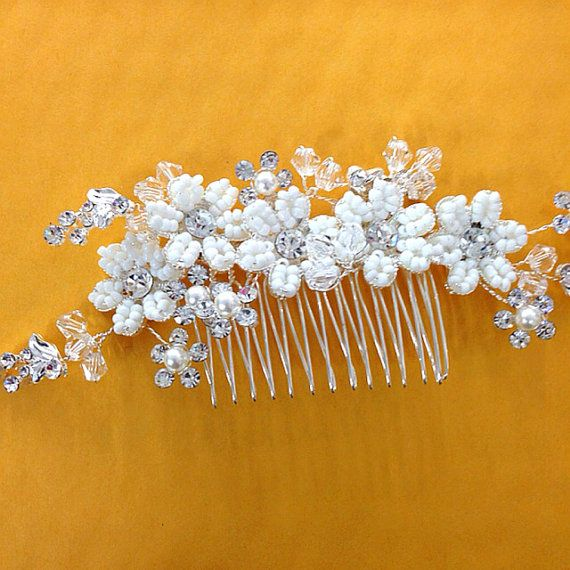 Silver crystal white flower wedding hair comb  white by CaSales, $20.00