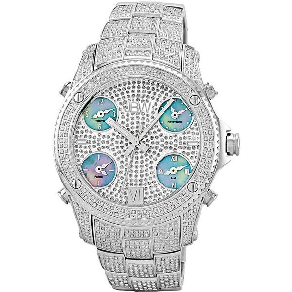 Jbw Men's Jet Setter Diamond & Crystal Watch ($550) ❤ liked on Polyvore featuring men's fashion, men's jewelry, men's watches, nocolor, watches, mens water resistant watches, mens wide band watches, mens diamond watches, mens leather strap watches and mens watches jewelry