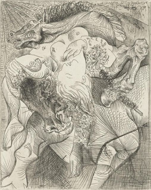 "Pablo Picasso, Marie-Thérèse as Female Torero June 20, 1934 (sheet: 17 5/8 x 13 3/8""), from the Vollard Suite."