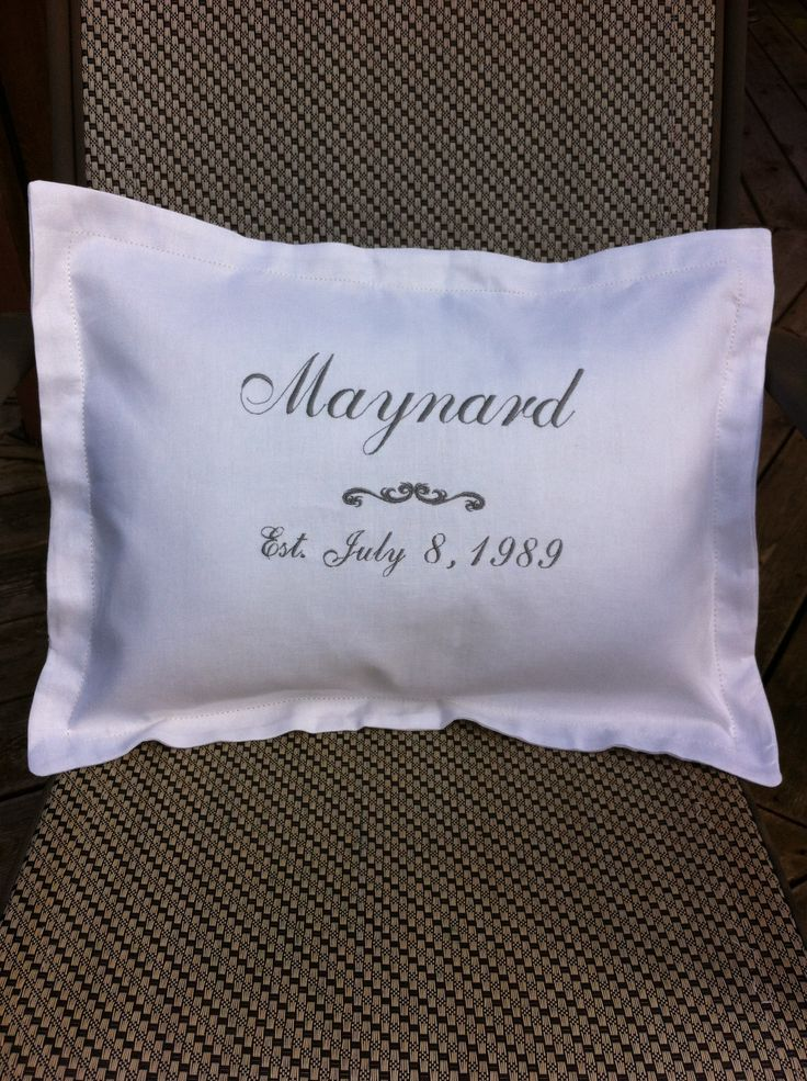 Customized pillows for weddings, anniversaries, birthdays- whatever!!  This is white linen with silver script to celebrate 25th anniversary.  30.00  For more information email sewbiz@shaw.ca or visit my page https://www.facebook.com/MichellesSewbiz -