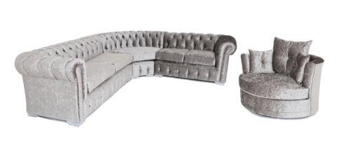 Chesterfield Corner Sofa & Swivel Chair – House of Sparkles #crushed #velvet #sofa #luxury #glam #sparkles