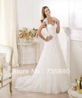 2014 Fashion Sheath Tulle Lace Appliques Wedding Dress