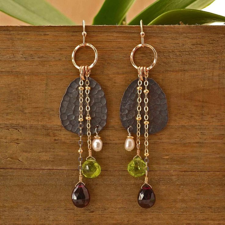 Handcrafted Dangling Gemstone Earrings   Plumb Line Jewelry