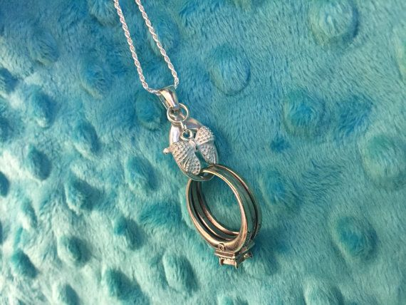 NEW Bow  Engagement Ring / Wedding Ring & Charm Holding Holder pendant necklace by AloraLocks