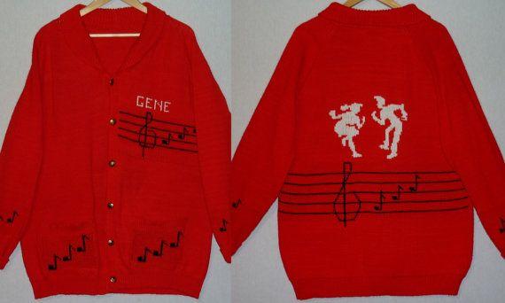 1960s Sweater / XL XXL / Rockabilly / Rock N Roll / Cowichan