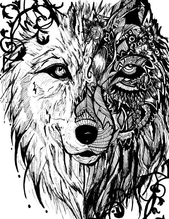 Detailed Zentangle Mandala Tribal Wolf Print by