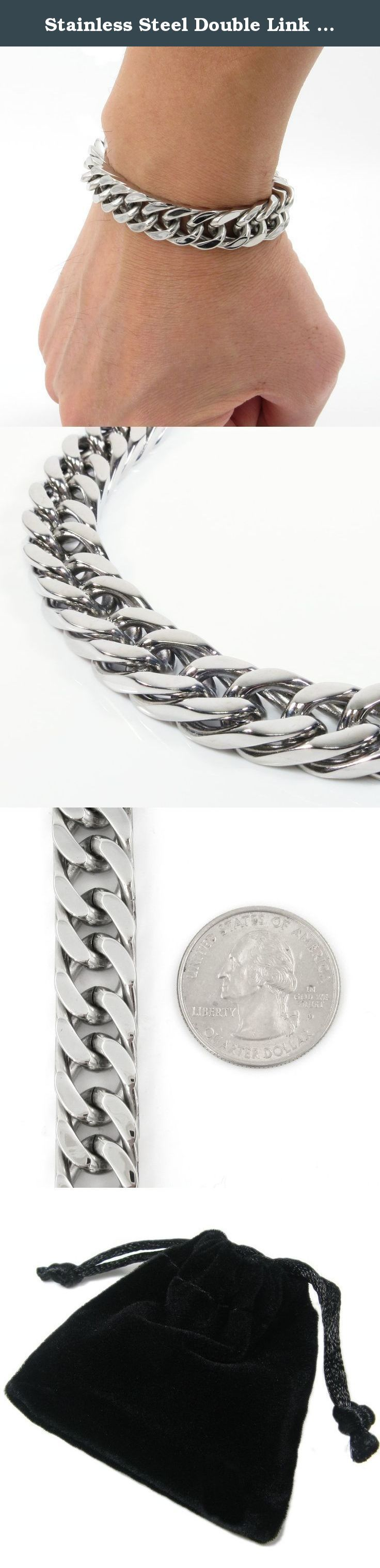 Stainless Steel Double Link Cuban Chain Mens Bracelet 12mm 8inch. One stainless steel men bracelet. Masculine polish double link curb cuban chain design. Lobster clasp. 12mm wide, fit 8 inch wrist. Comes with a gift bag. ** The coin in the picture is a US quarter dollar for size reference only and not included.
