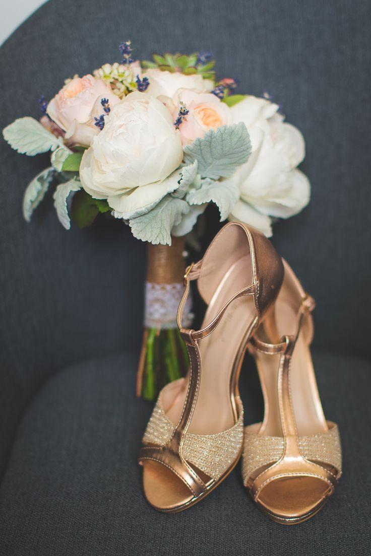 wedding details pink gold shoes
