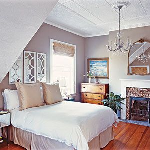 Simplistic Master Bedroom | CoastalLiving.com: Wall Colors, Decor Ideas, Mirror Over Bed, Paintings Colors, Master Bedrooms, Romantic Master Bedroom, Small Spaces, Gray Wall, Bedrooms Ideas