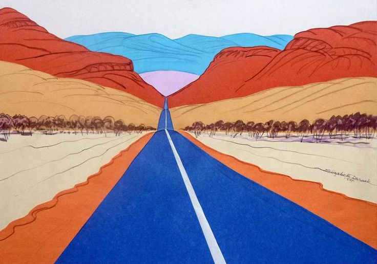 """Road to Halls Creek, East Kimberley"", 1984, by Elizabeth Durack (1915-2000), Mixed Media and Collage, 37.5 x 52cm."