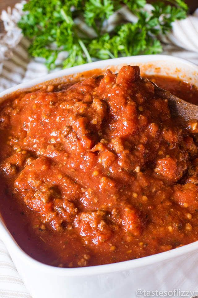 Healthy Homemade Spaghetti Sauce recipe has no added sugar! It's meaty, thick, full of Italian flavor and great served over traditional pasta or spaghetti squash for a low-carb meal.