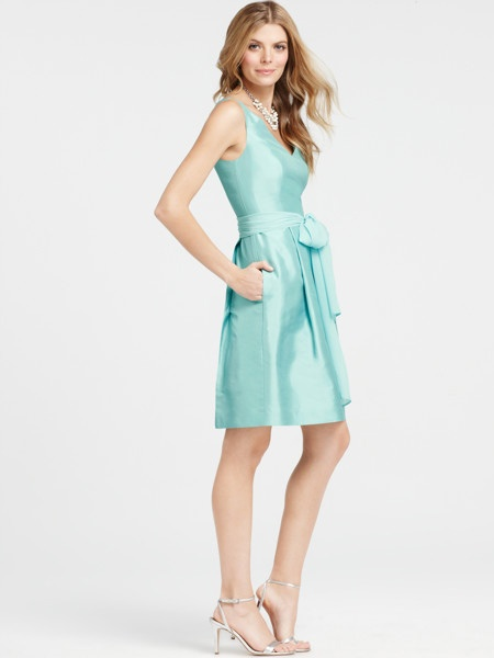 beautiful v neck light teal bridesmaid dress knee length