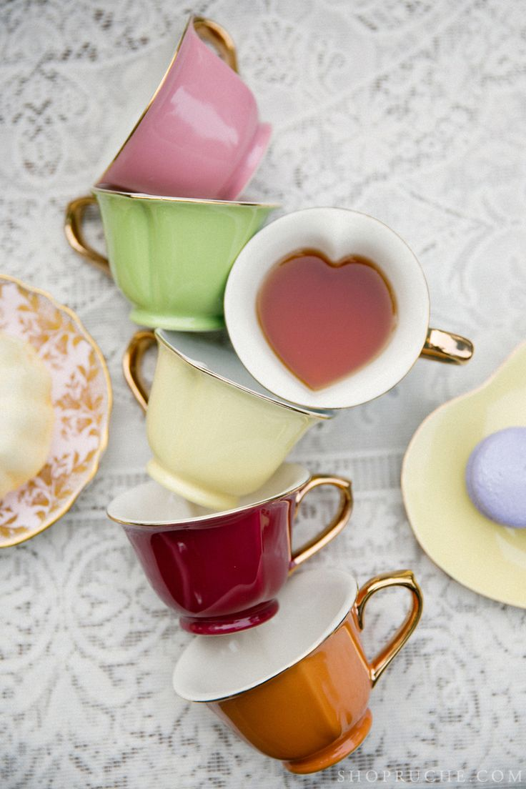 Heart tea cups for your spring party.