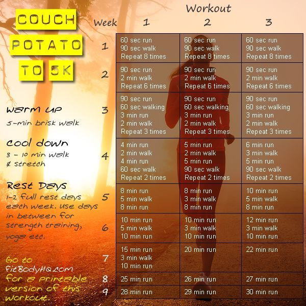 From Couch Potato to 5K. Go to FitBodyHQ.com for a printable version of this workout. #FitBodyHQ