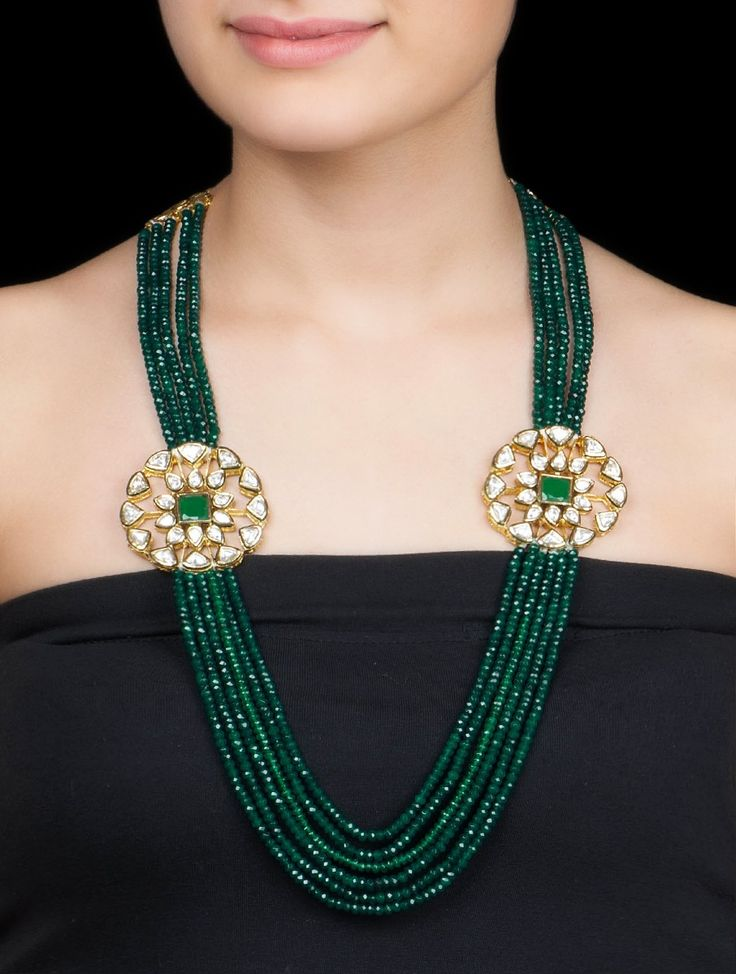 Buy Green Golden Ethno Necklace by Anjali Jain Metal Alloy Semi Precious Stone Jewelry Fashion Verses of Tradition Encrusted Kundan with Etchings Online at Jaypore.com