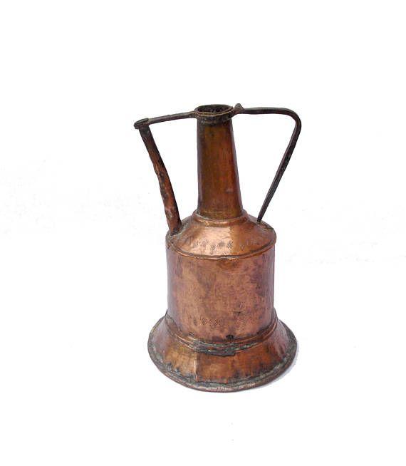 Vintage copper pitcher, copper carafe, copper jug, ancienne cruche en cuivre