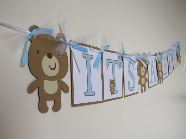 Its a Boy Teddy Bear Baby Shower Banner. $26.00, via Etsy. A baby shower needs treats! Use Patchi's Bear-Fun Chocolate arrangement to gift guests. http://www.patchi.us/baby-boy-bearstickers.html