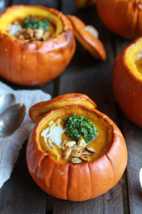 Serving pumpkin soup in a pumpkin is about as meta as it gets. Get the recipe from Half Baked Harvest.