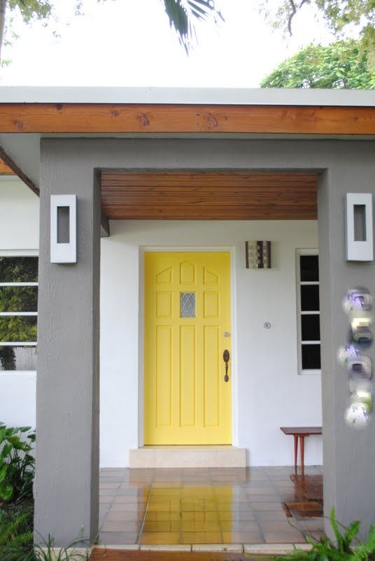 jandjhome: Some Pictures of Our Newly Painted House.... Love the yellow door. This will be my next project.