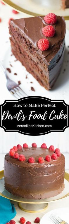 Chocolate Devil's Food Cake; a dense rich chocolate cake covered with luscious chocolate ganache. It is a great dessert recipe for any celebration.