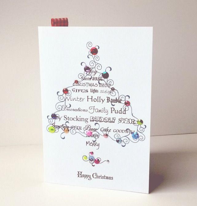 Christmas Card Pk of Five,'Feeling Festive',Handmade Xmas Card Pk £4.75