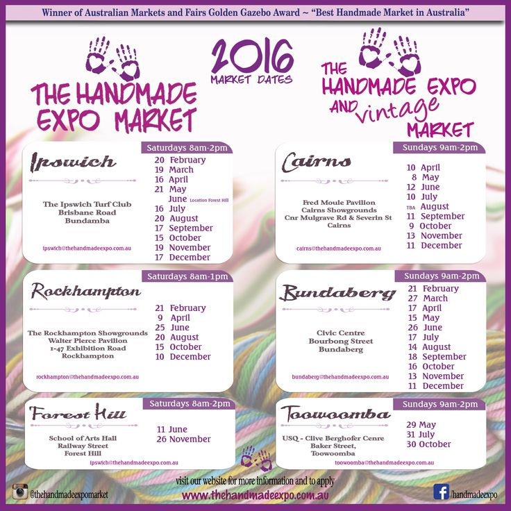 2016 dates and venues The Handmade Expo Markets