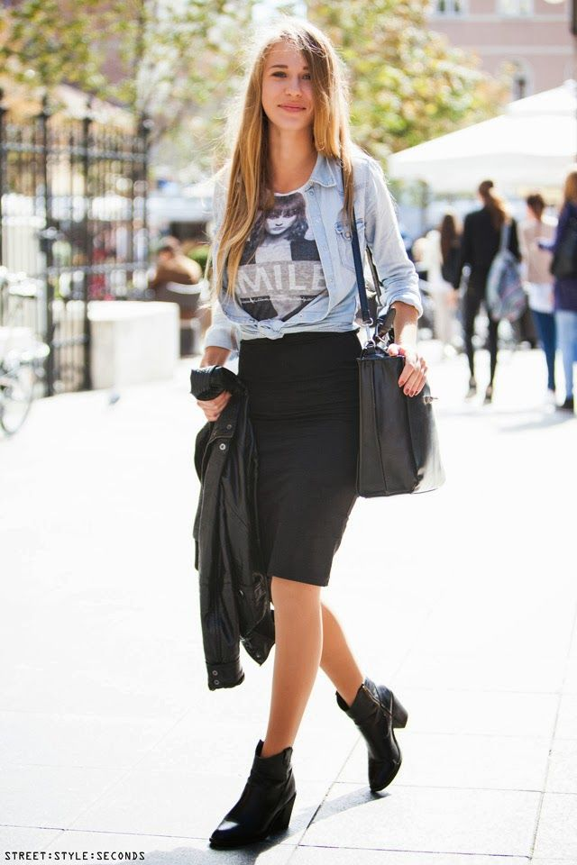 how to style pencil skirt with denim shirt anf ankle boots