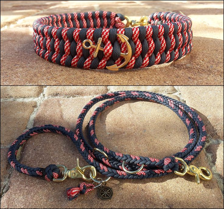 Maritimes Paracord Halsband mit passender Leine. Mehr auf : www.mein-paracord.de