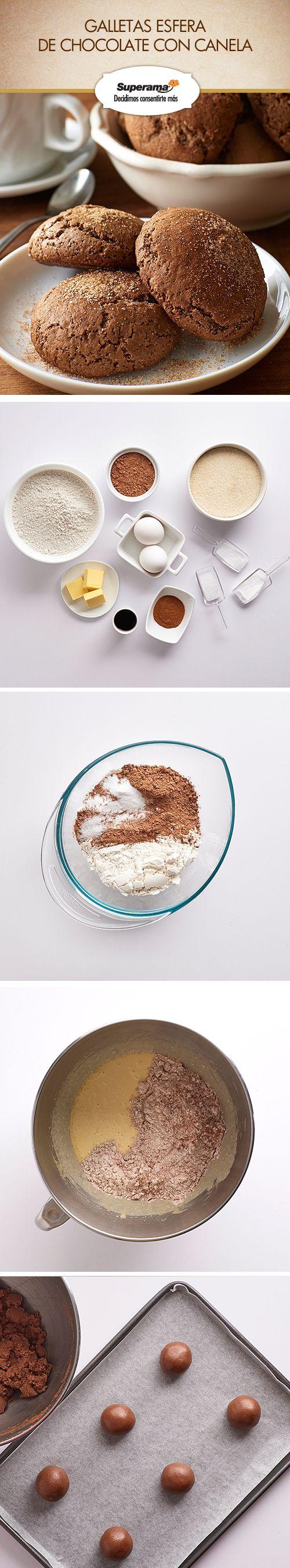 Mezcla 2 ¼ tzs. de harina, ½ tz. de cocoa, 1 cdita. de cremor tártaro, ½ cdita. de bicarbonato de sodio y ¼ cdta. de sal, reserva. Bate ¼ tz. de mantequilla y 1 ½ tzs. de azúcar por 3 min. Agrega 2 huevos y 1 cdita. de vainilla, bate 1 min. más. Baja la velocidad y añade la mezcla de harina. Forma bolitas de 5 cm con esa masa y refrigéralas por 30 min. en una charola con papel siliconado. Hornea a 190 ºC de 12 a 15 min. Deja enfriar. Revuélcalas en 3 cdas. de azúcar y 1 cdita. de canela…