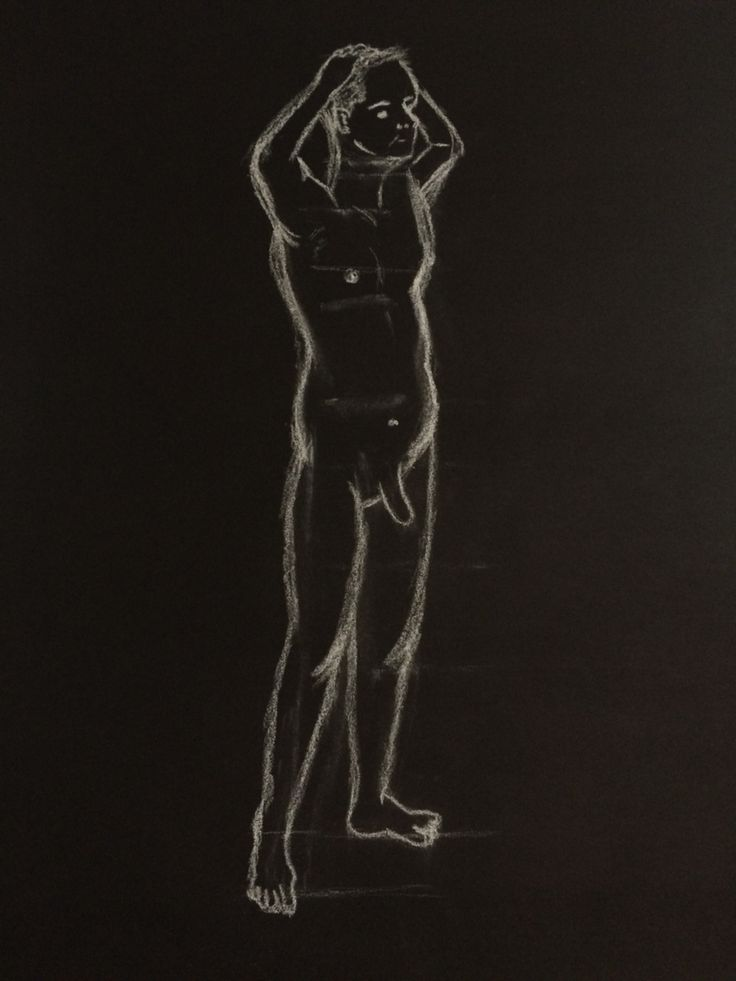 White chalk drawing - male body