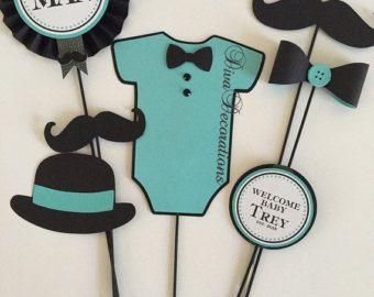 Custom Little Man Mustache Baby Shower Centerpiece Decoration For Yasmin P