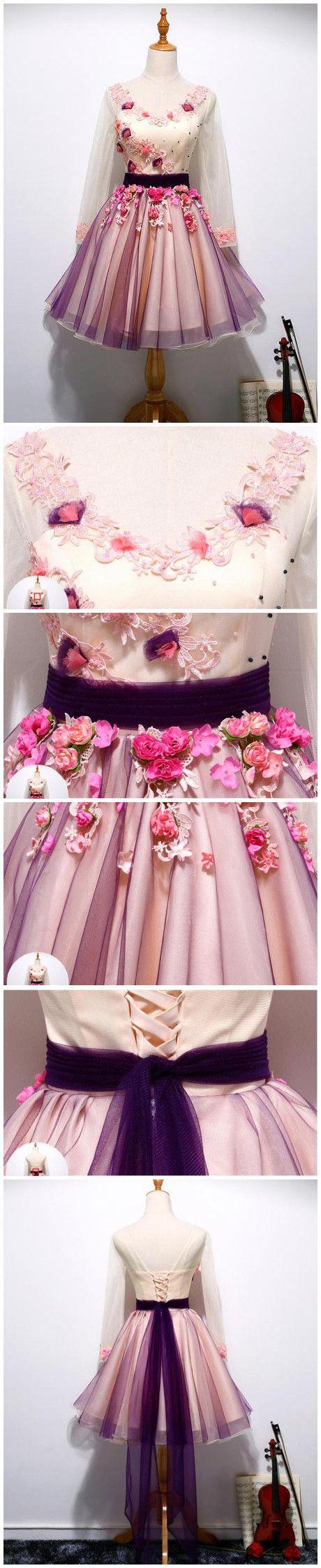 Charming Homecoming Dress,Hot Sale A-line V-neck Long Sleeve Short Prom Dress Formal Dress On Sale