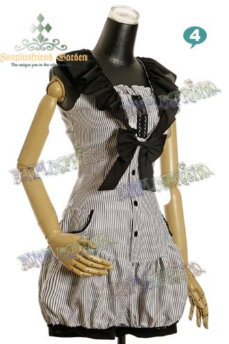 Casual Lolita/Ouji Boy Dandy: Navy Stripe Frilly One Piece Jumpsuit*4color Instant Shipping
