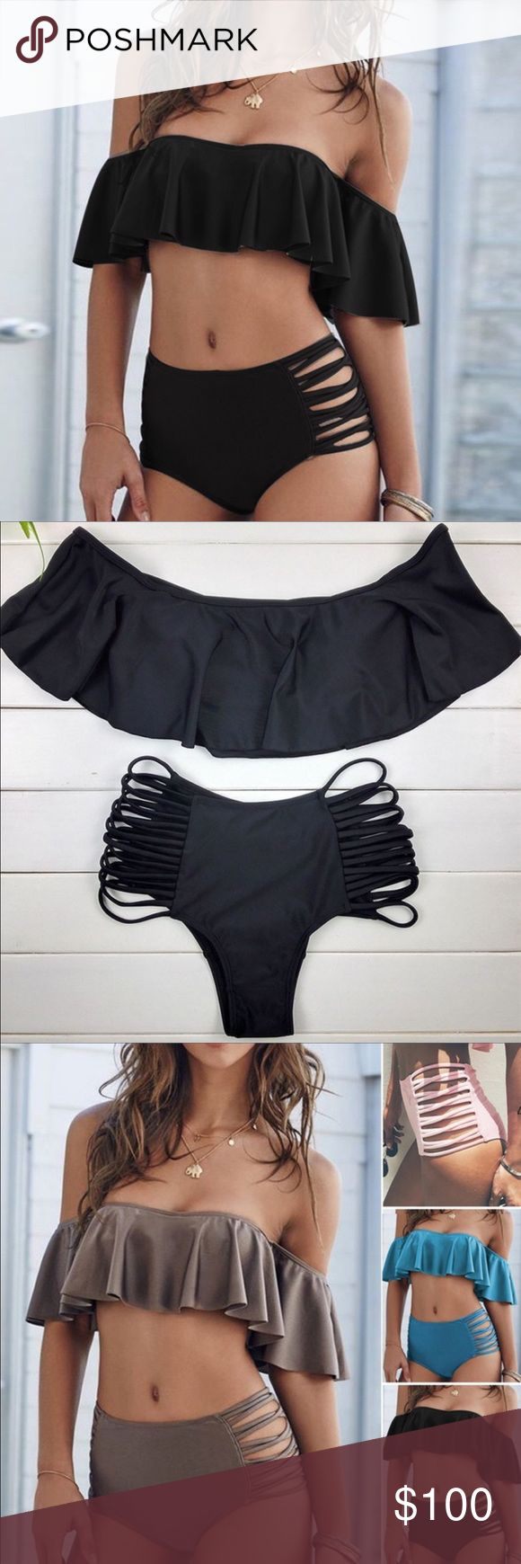 Shoulder off Sexy Swimsuit High Waisted Bikini ‼️COMING SOON ‼️Sexy shoulder off Hight waist bikini set.Hight quality ,brand new.‼️I will low the price when is available‼️ Swim Bikinis