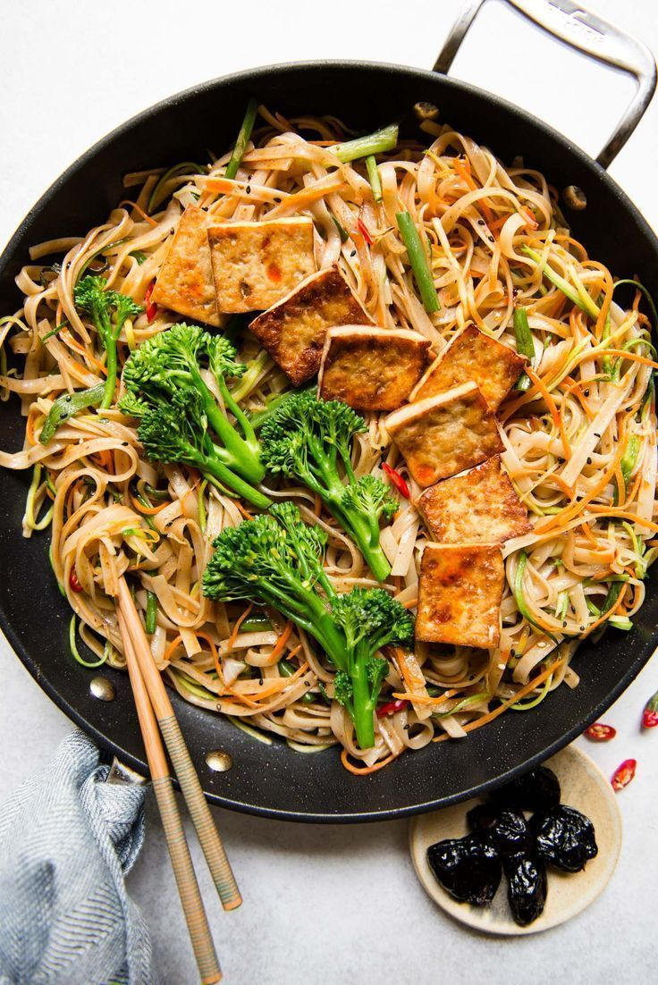 Tofu Stir Fry Noodles with Dried Plum Sauce