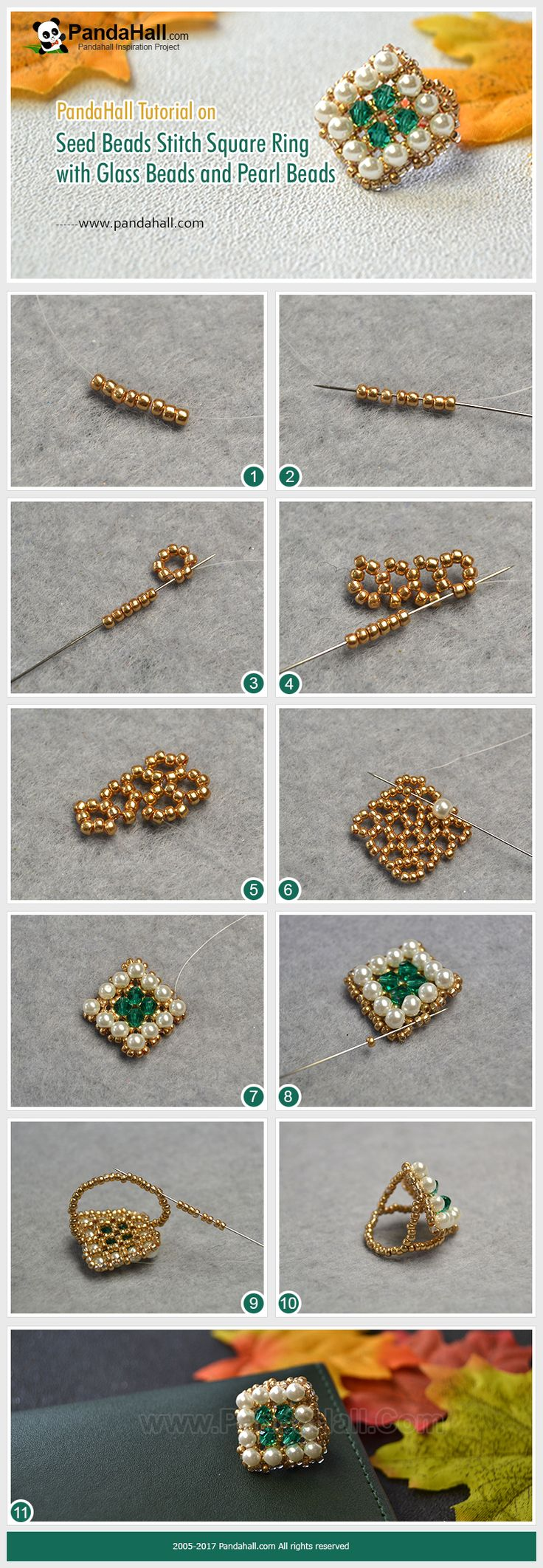 Seed Beads Stitch Square Ring with Glass Beads and Pearl Beads The main materials of the ring are gold seed beads, green bicone glass beads and glass pearl beads. The way is to stitch the beads in a square shape. Wanna have a try? #seedbeads #diy #glass #Pandahall #tutorial #ring #handmade #favehandmade #diyring #jewelrytutorial #handmadejewelry #jewelrylover