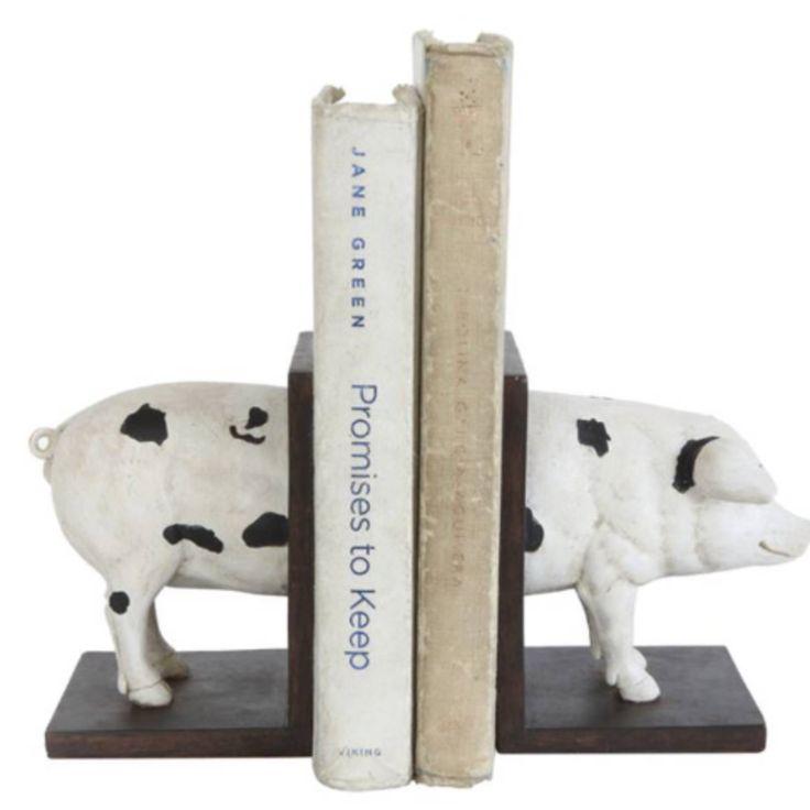 Pig Bookends black white bookends modern farmhouse bookends farm house decor book end