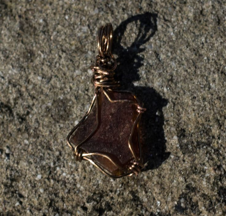 Amber Beach Glass Pendant - 34 mm tall 16 mm wide Amber Sea Glass Pendant - Shipping is on Us at Everything Vintage by EverythingVintageBC on Etsy
