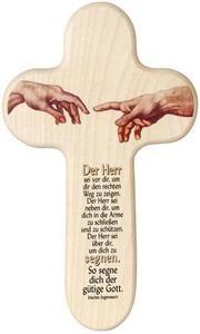 """Dekoratives Holzkreuz mit farbiger Illustration und kindgerechtem Gebet! Eine bezaubernde Geschenkidee für jede Gelegenheit und jedes Alter. Gebet: """"Der Herr sei vor dir, um dir den rechten Weg zu zeigen.  Der Herr sei neben dir, um dich in die Arme zu schließen und zu schützen. Der Herr sei über dir, um dich zu segnen. So segne dich der gütige Gott!"""" Irisches Segenswort  kein Spielzeug  Abmessungen (in mm): 200x120x10"""