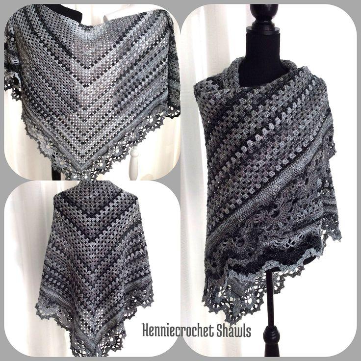Blij om mijn nieuwste toevoeging aan mijn #etsy shop te kunnen delen: Black Friday,granny sjaal, grijs zwarte sjaal, gehaakt, cadeau voor haar, vintage omslagdoek, kerst cadeau, glossy sjaal, wintersjaal, stola