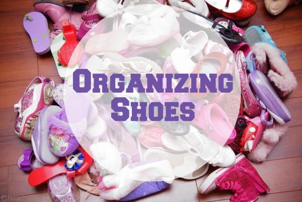 ~ Organizing Shoes ......seems to take up less space than racks!