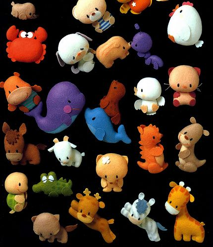 felt animals ...could also use polymer clay @Haley  Griggs
